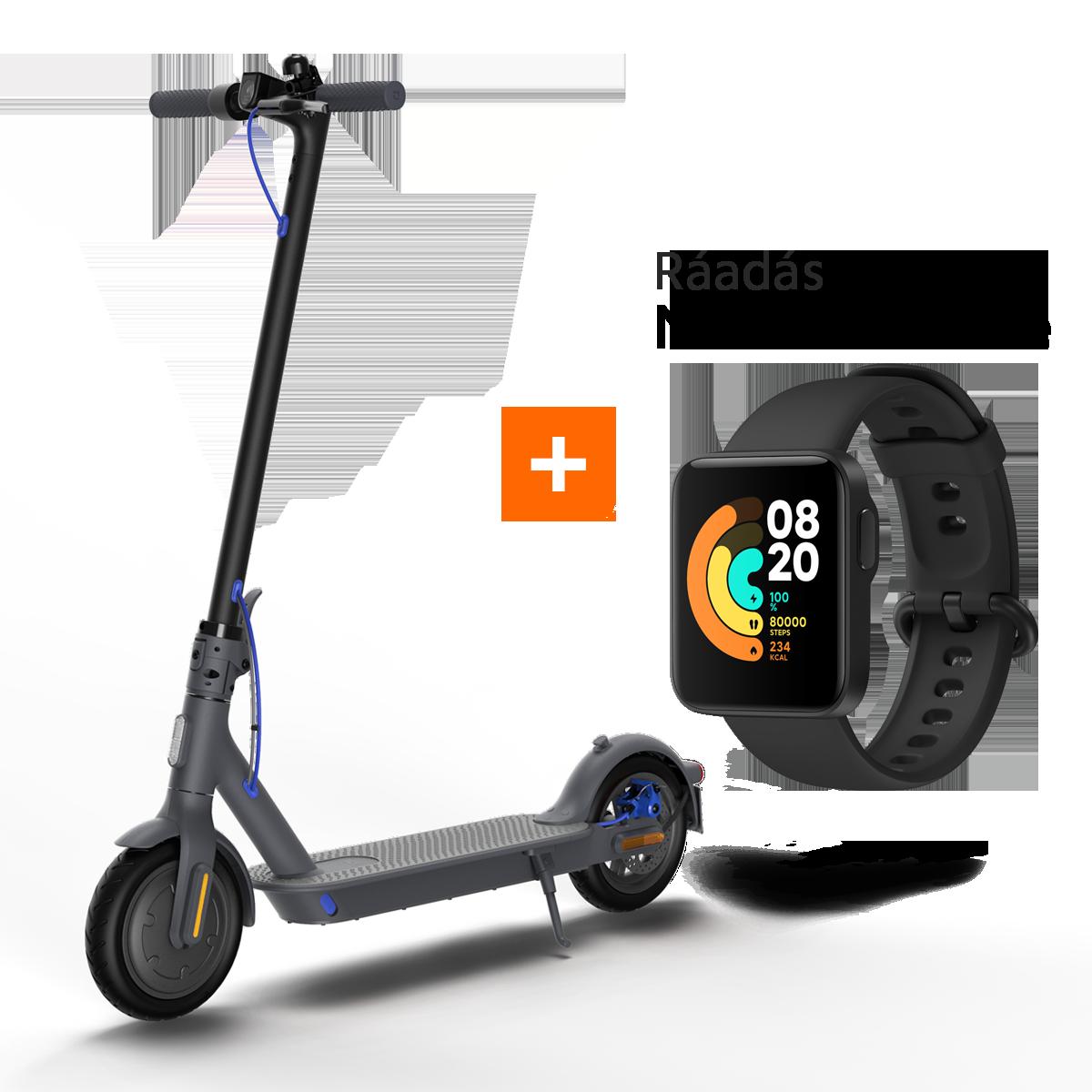 Mi Electric Scooter 3 (Onyx Black) elektromos roller + Mi Watch Lite (black) okosóra Bundle Kit