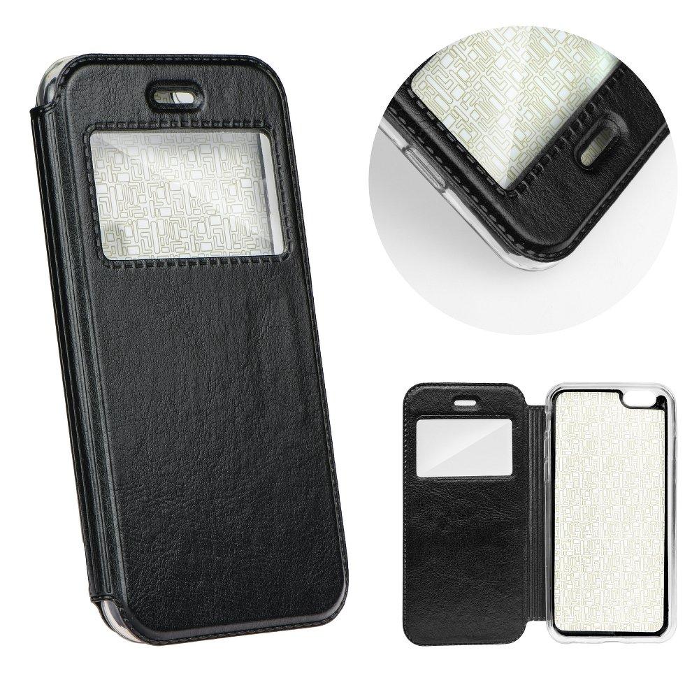 Redmi Note 4 / 4X ablakos műbőr tok-fekete