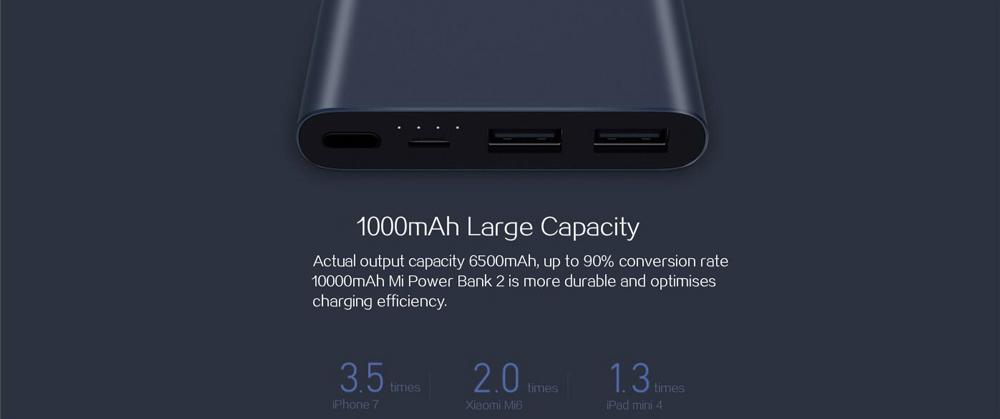 Power Bank 2S 10000 mAh külső akkumlátor, dupla USB kimenettel, fekete