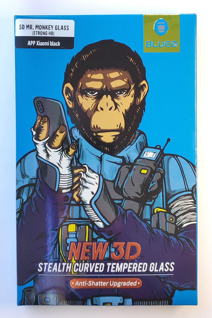 Mi 8 / Mi 8 Pro - 5D kijelzővédő üveg (Mr. Monkey), fekete kerettel