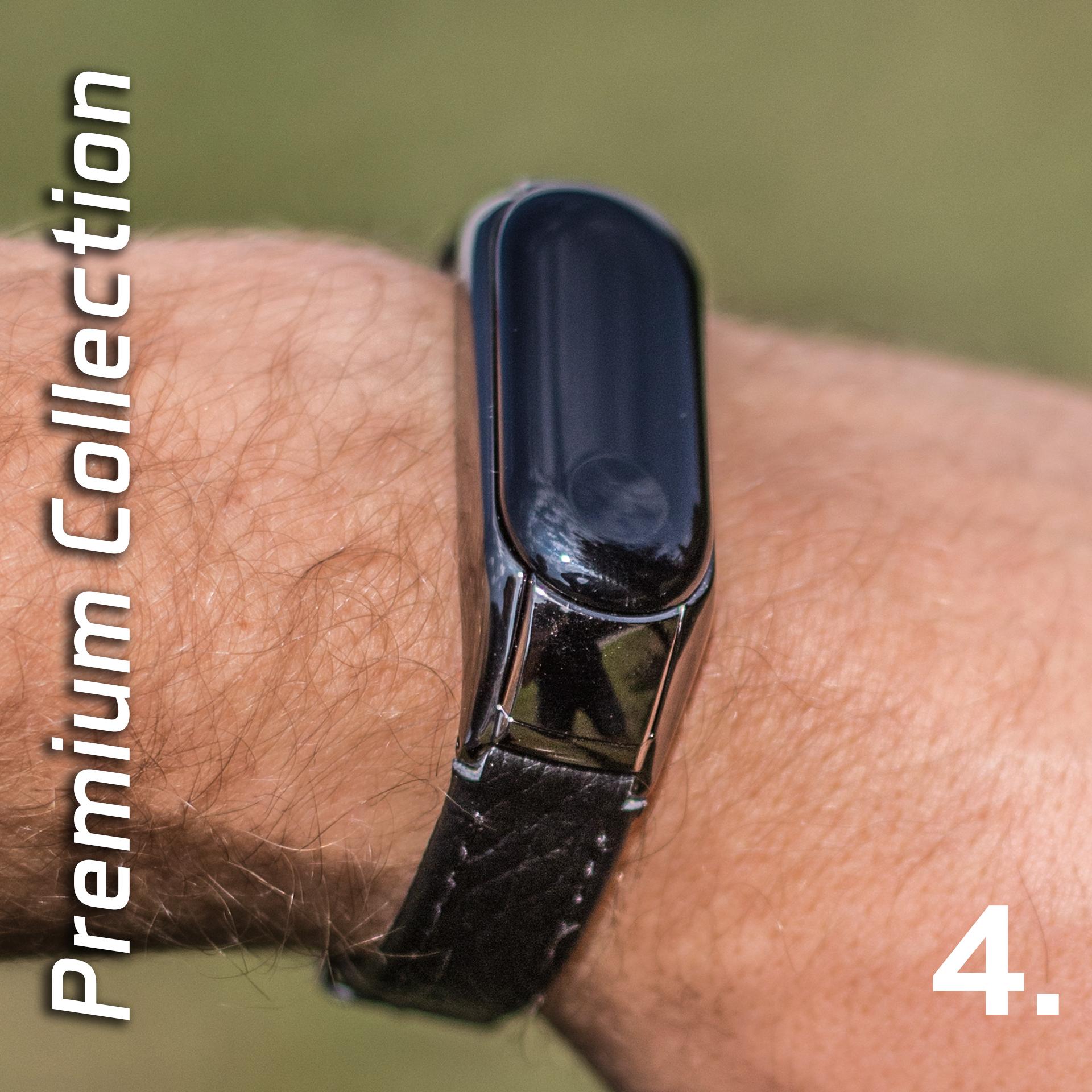 Mi Band 3 műbőr pánt - fekete