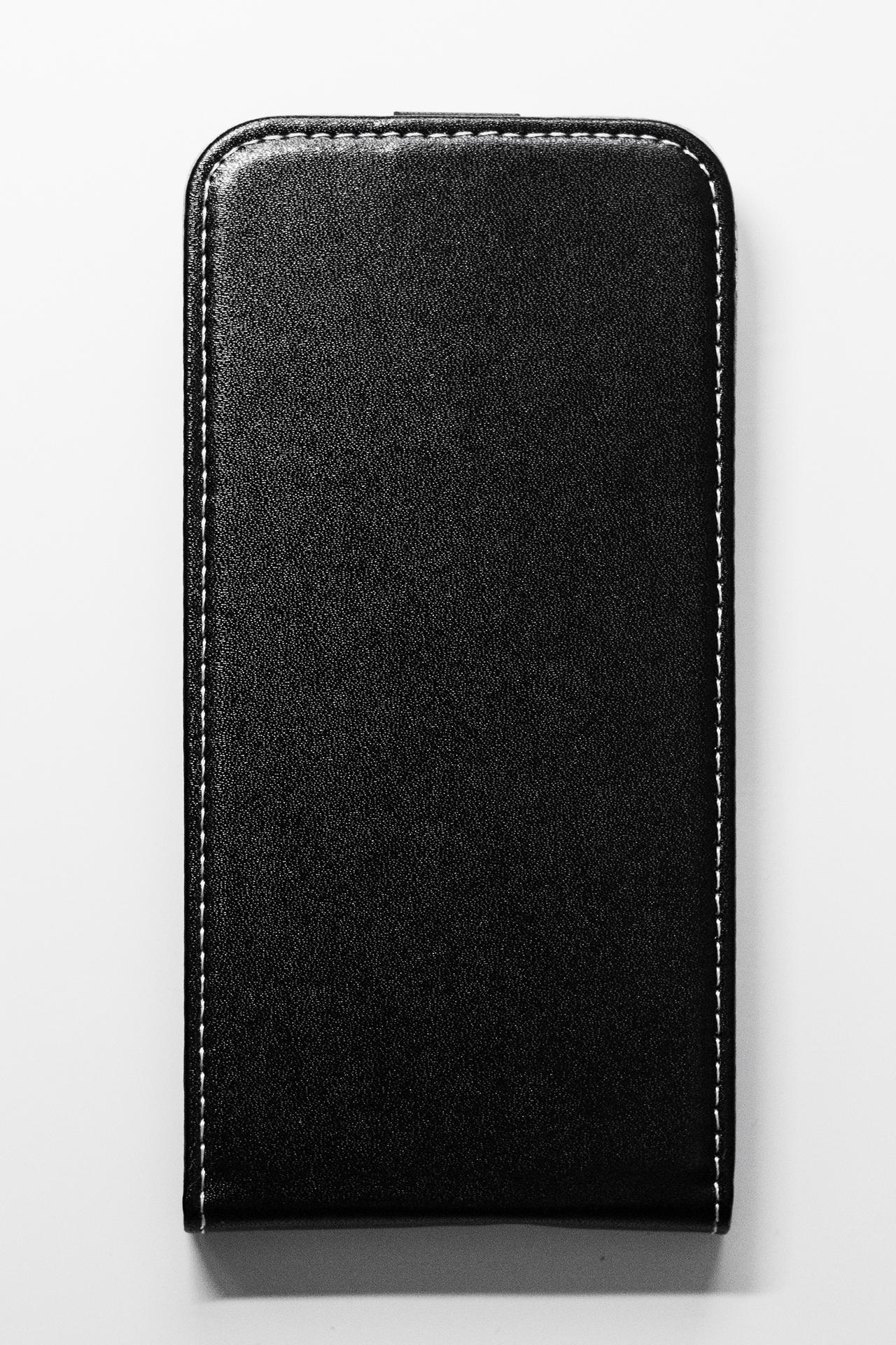 Redmi 6 mágneses Flip műbőr tok - lefelé nyíló, fekete