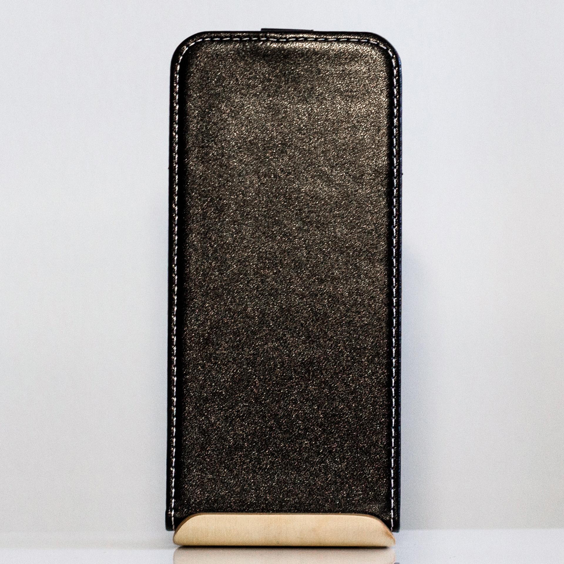 Redmi Note 5 / Note 5 Pro mágneses Flip műbőr tok - lefelé nyíló, fekete