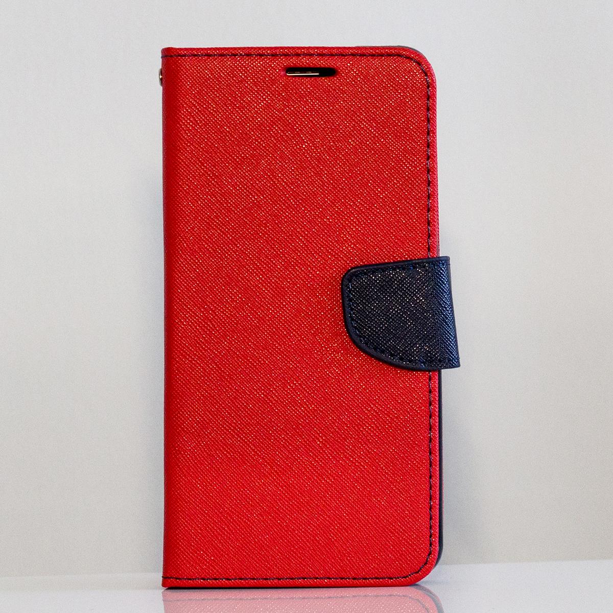Redmi 6 Pro / Mi A2 Lite Fancy Book flip tok, piros - sötétkék