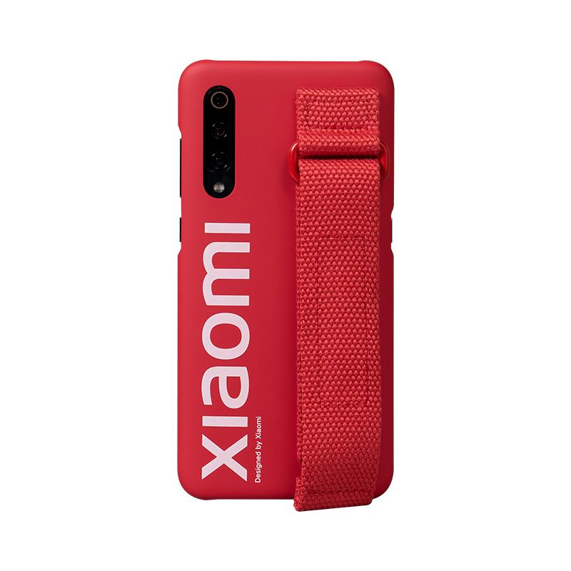 Xiaomi Mi 9 hevederes műanyag tok (Eredeti) - piros