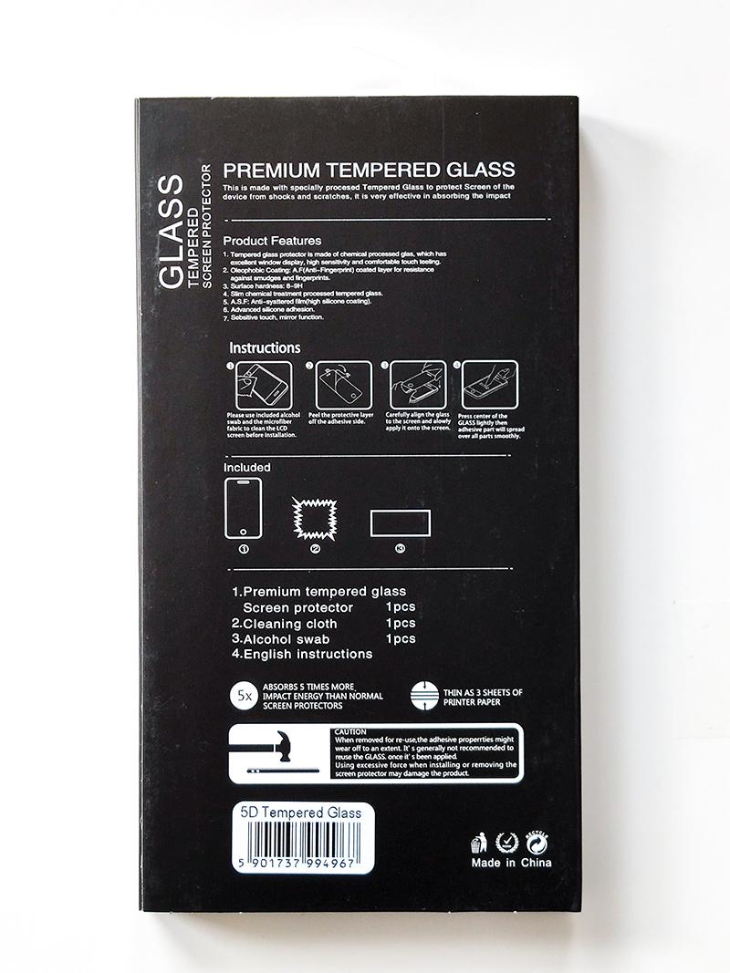 Redmi 7 5D kijelzővédő üveg - fekete ívelt széllel