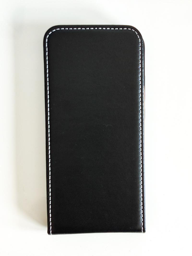 Husă Redmi 7 - cu magnet, design imitație de piele, tip flip (cu deschidere verticală) - Neagră