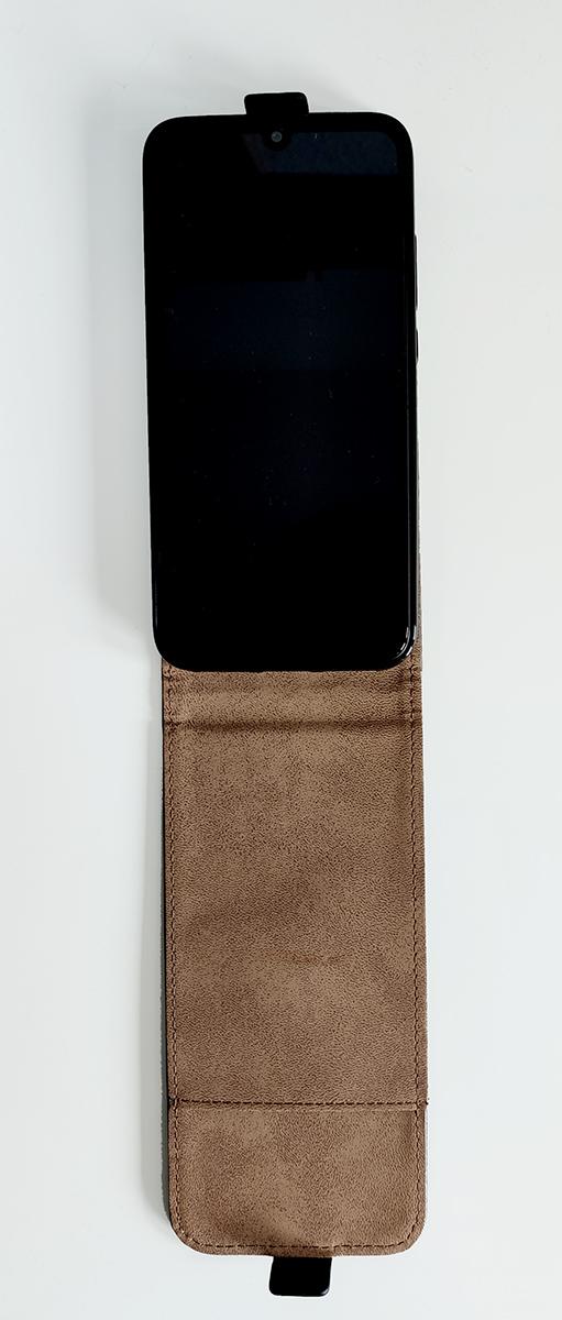 Redmi 7 mágneses műbőr flip tok (lefelé nyíló), fekete