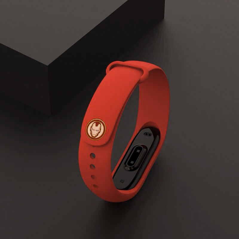 Curea de silicon Mi Band 3 / 4  (portocalie) - Avengers, Iron Man