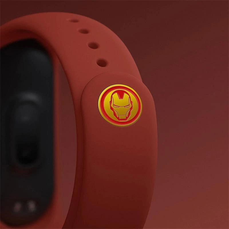 Curea de silicon Mi Band 3 / 4  (portocalie) - Avengers, Iron Man
