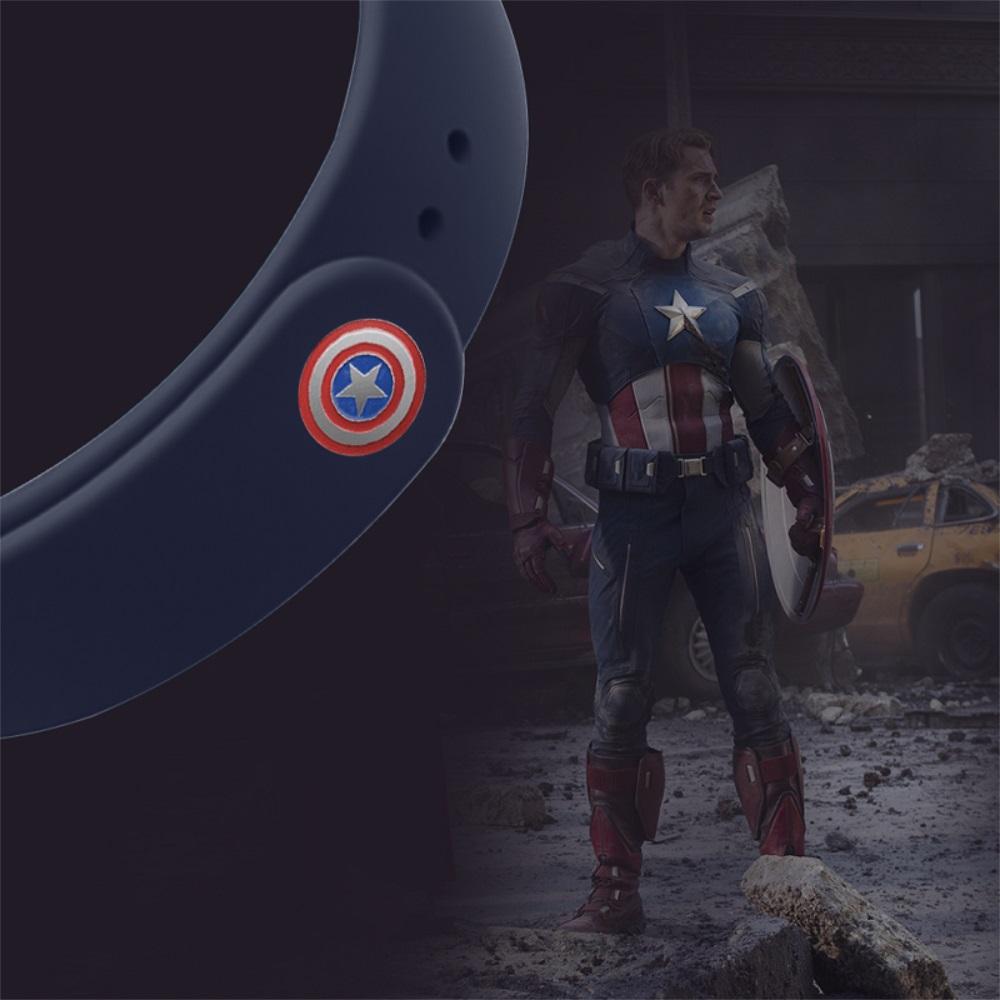 Curea de silicon Mi Band 3 / 4  (albastră) - Avengers, Captain America