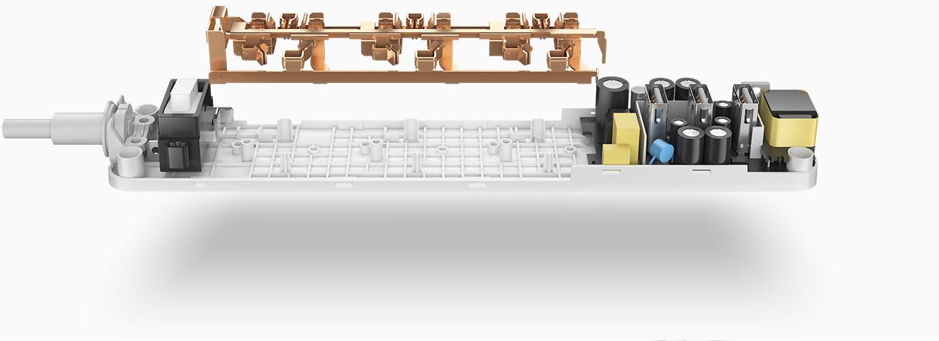 Mi Power Strip 3 - hálózati elosztó, 3 USB kimenettel, fehér